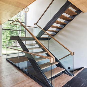 Indoor Simple Design Loft Straight Iron Wood Tread Stairs