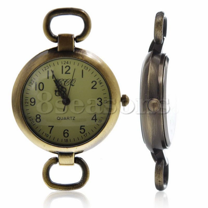 Top Quality Round Antique Bronze Easy Read Battery Included Watches Face For Crafts