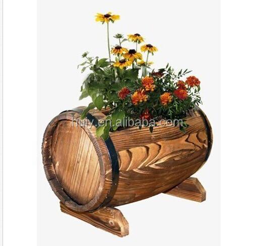 jardin planteur en forme de tonneau en bois rustique fleur plante pot int rieur ext rieur pots. Black Bedroom Furniture Sets. Home Design Ideas