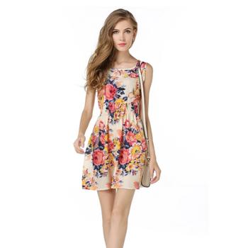 04cf68a42d4 Top precioso última moda señora con elástico de alta cintura sin mangas  flor imprime vestido 1138