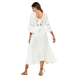 Wholesale white sexy v neck bow tie backless dress 100% rayon half sleeve casual boho maxi long dresses woman summer 2018