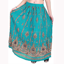 maxi gonna lunga con <span class=keywords><strong>fiori</strong></span> stampati e ricamati paillettes indian gonna