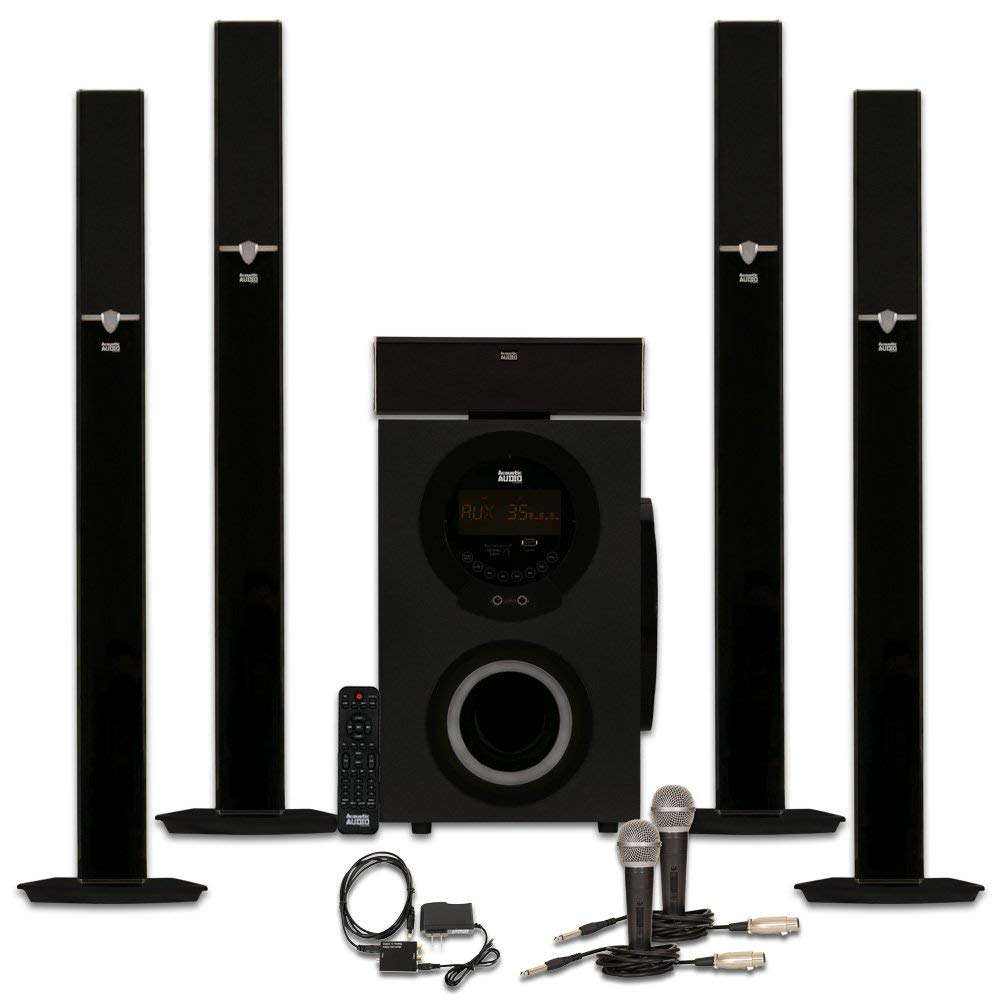 Acoustic Audio AAT3003 Tower 5.1 Home Theater Bluetooth Speaker System with Optical Input and Mics