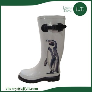 Lovely Penguin Printed Best Selling Wellies Women Sexy Long Rubber Rain Boots