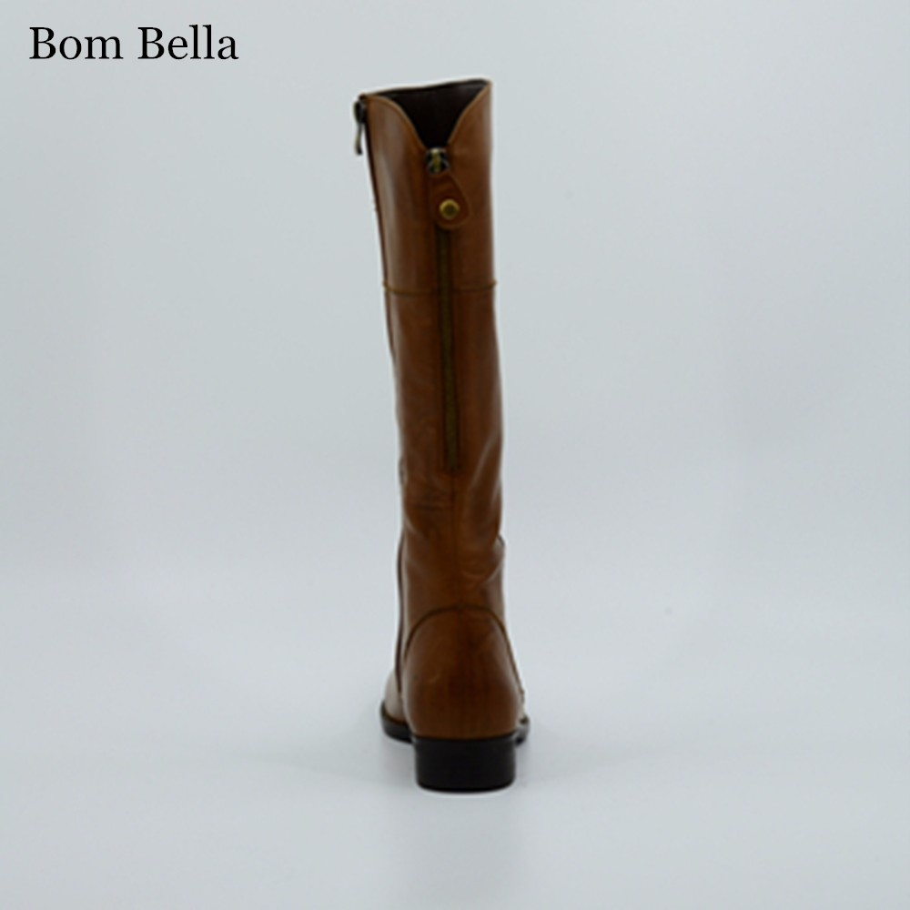 bbla538 camel color burnished leather horse riding knee high flat