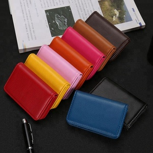 High quality multi color PU leather business card clip box card wallet unisex