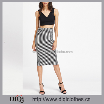 5610ae8c6f Guangzhou garment Factory Export wholesale women fashion Black White  Vertical Pinstripe Striped Sheath Midi Skirt