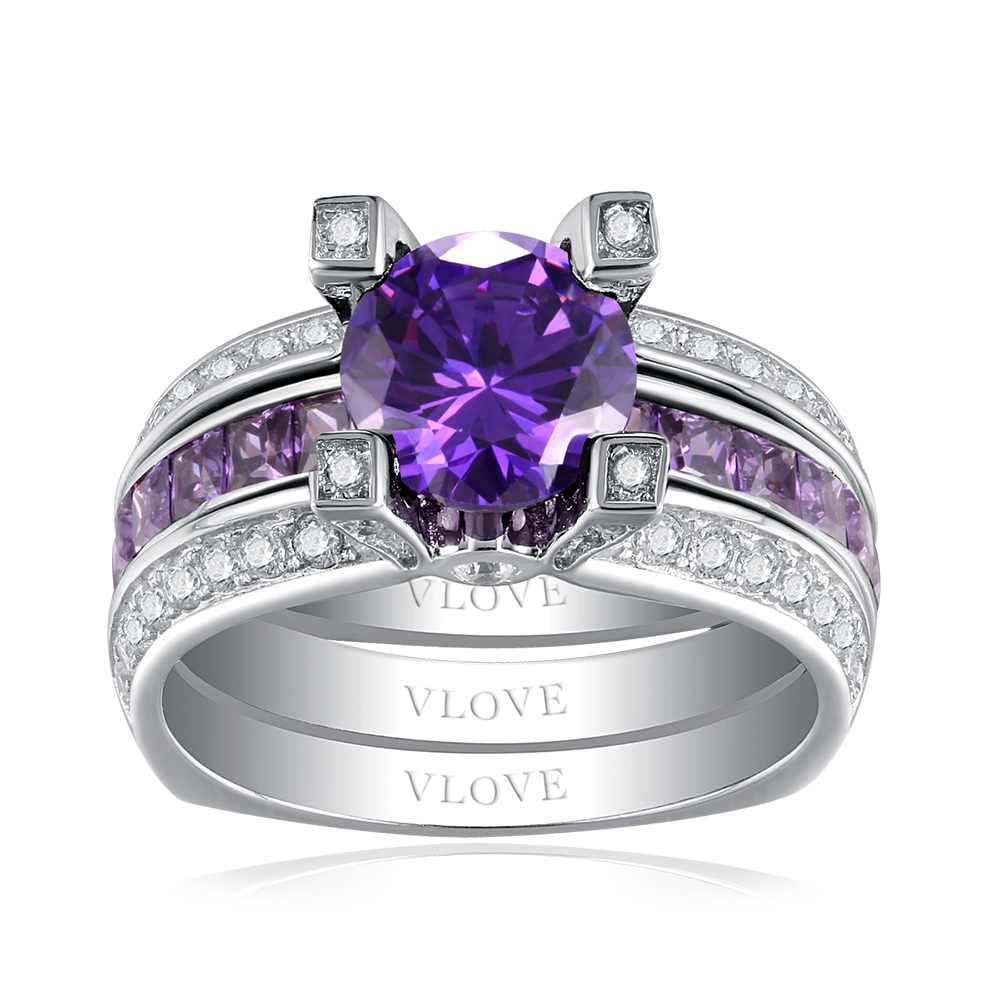 VLOVE latest simple fancy ladies stacking 925 anillos de plata with amethyst