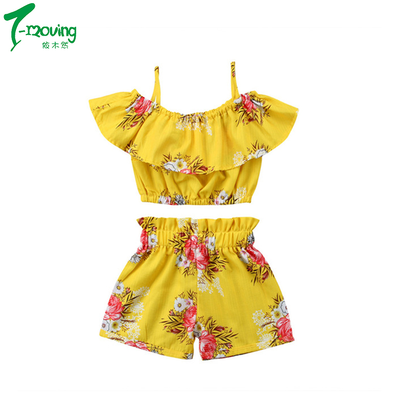 Toddler Girl Summer Clothing Off Shoulder Ruffle Tops Elastic Shorts Bottoms Boutique Kids Clothing Outfits Set 2pcs