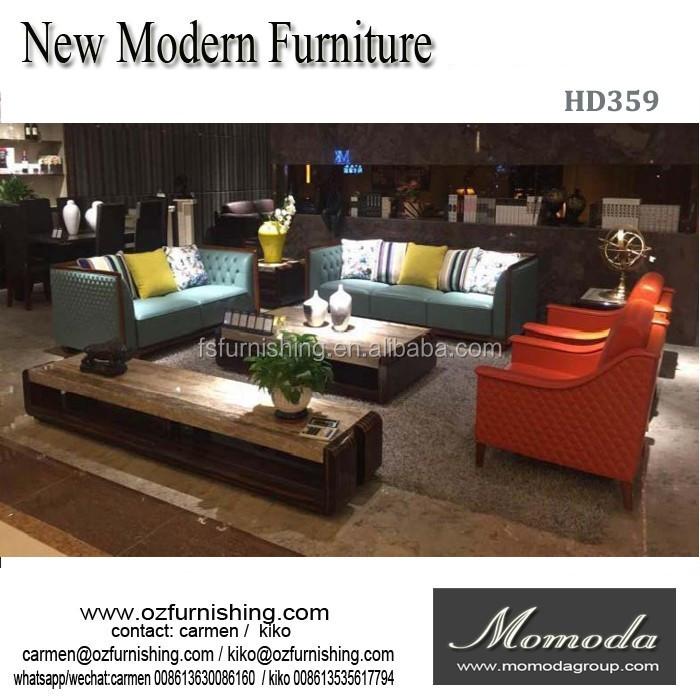 HD359 100% Top Grain 2 Seat Heated Leather Sofa /Fashion Blue Leather  Sectional Sofa