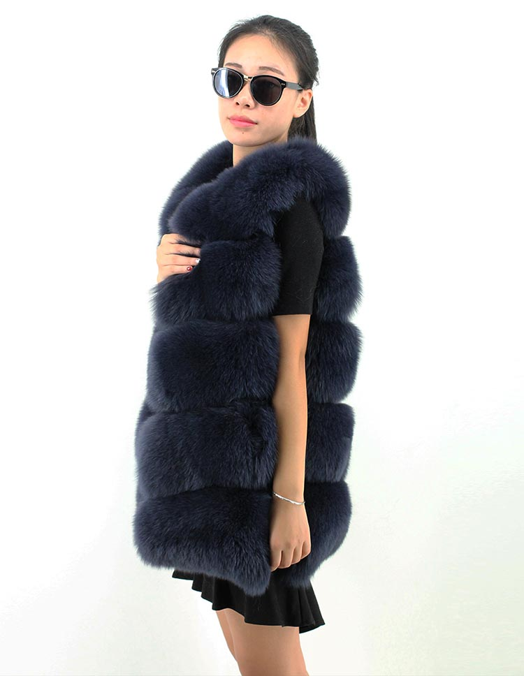 winter full pelt O collar 72cm long hooked blue color natural fox fur vest for women