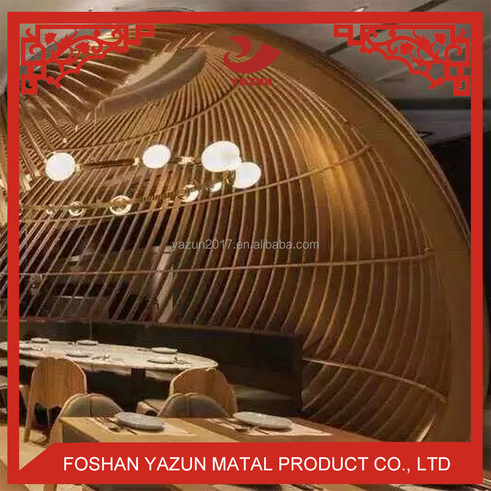 2018 Restaurant Design Wood Grain Spray Painted Metal Ceiling Aluminum Baffle Ceiling