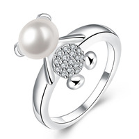 Cute Bear Ring For Women Round White Simulated Pearl Austrian Crystal Zircon Plating Platinum Party Jewellery