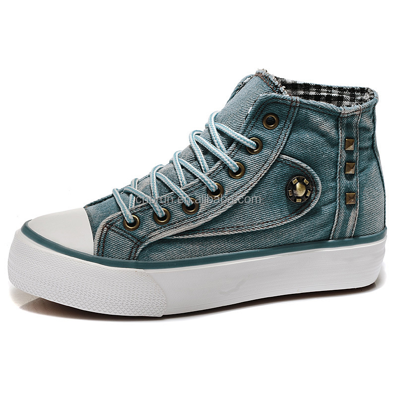 Blue Jeans Vulcanized Sneakers Shoes women Canvas Shoes in China