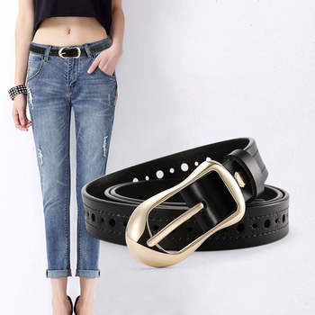 Latest Women's Hollow Flower Genuine Leather Belt With Alloy Buckle Factory sale Sash Waist belts