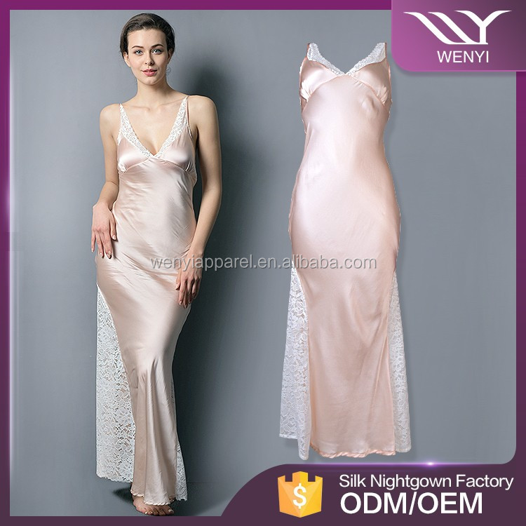 China factory accept design your own pretty woman long satin silk nightgown