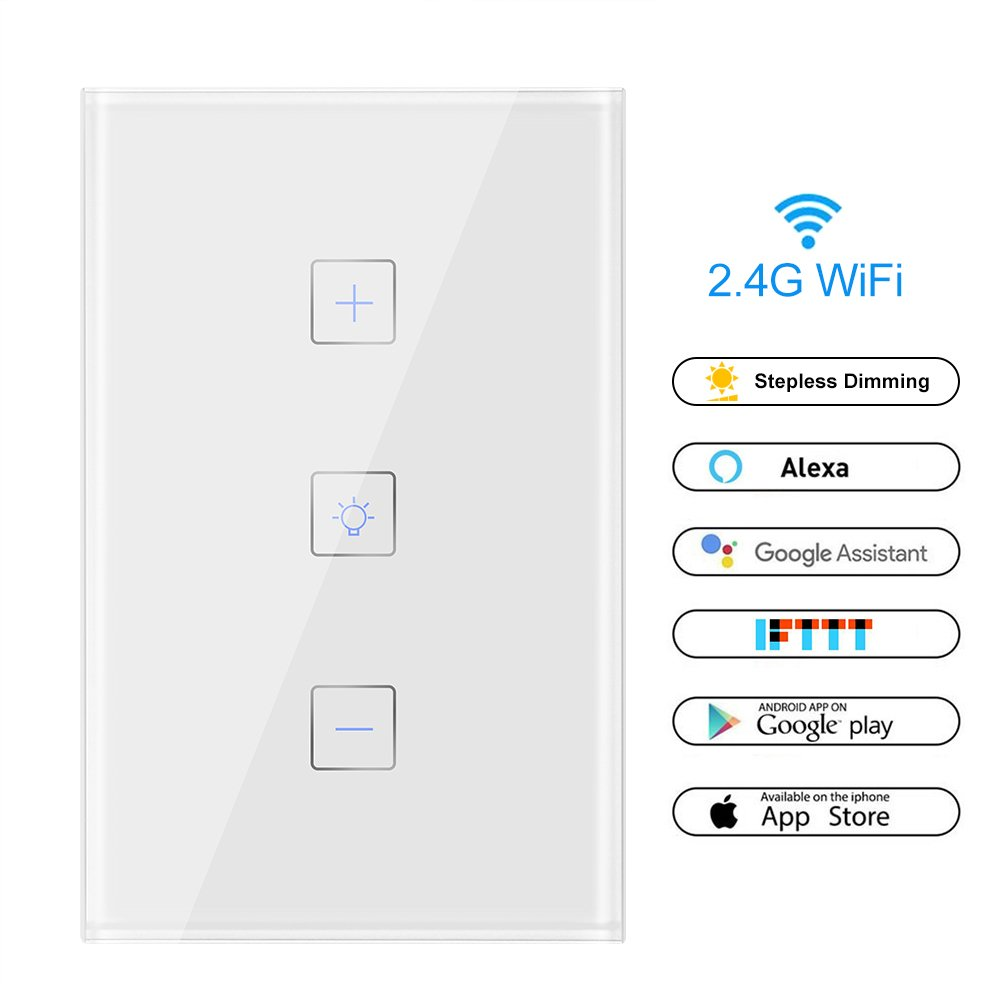 Smart Wi-Fi Light Switch, ALLOMN In-wall Touch Light Switch Remote Control Home Appliances, Timing Function, Works with Alexa, Google Assistant and IFTTT (Natural Wire Required)
