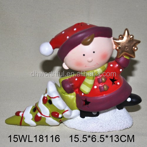 2017 new ceramic christmas gifts,ceramic christmas ornaments with led light