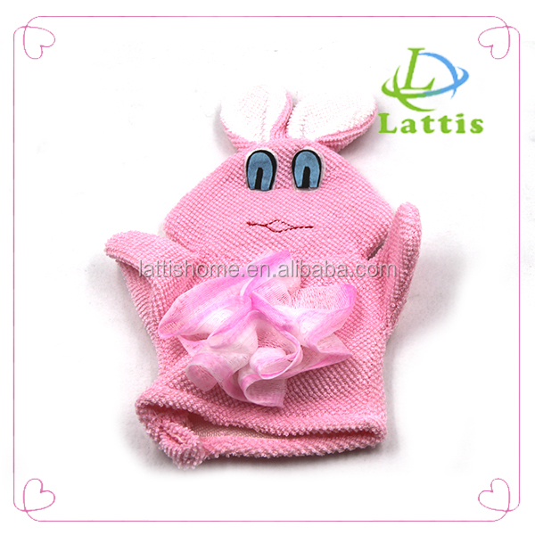 cute rabbit shape baby kids cartoon bath shower sponge glove