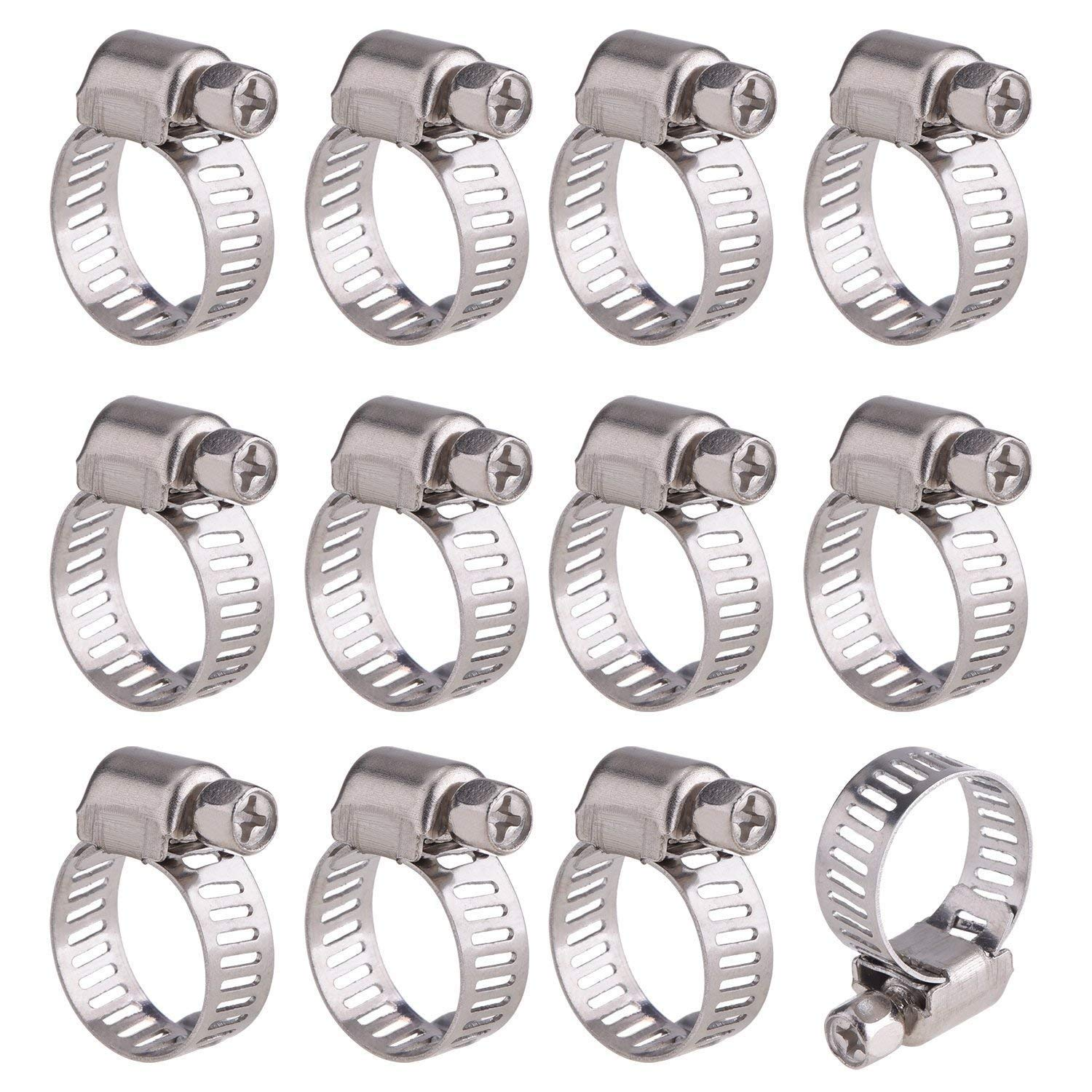 Worm Drive Hose Clamps Adjustable Stainless Steel Worm Drive Pipes Hose Clamps Clips Hose Clamps Kit(24 Pack,13-19mm)