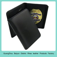 Personalized ID Vinyl Window Leather Bifold Cutout Recessed Universal Law Enforcement Oblong Badge Wallet & holder