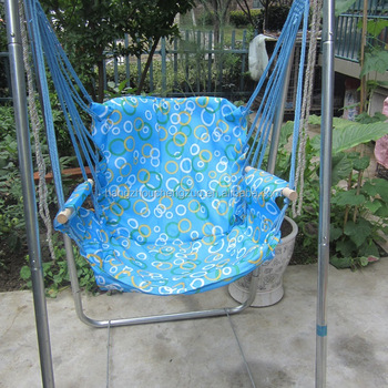 Parachute Canvas Garden Hanging Chair With Galvanized Steel Pipe Support  Stand,CZ 15B Garden