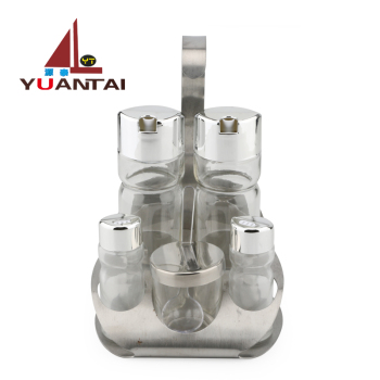 Wholesale Kitchen oil vinegar bottle ,salt and pepper shakers with clear glass