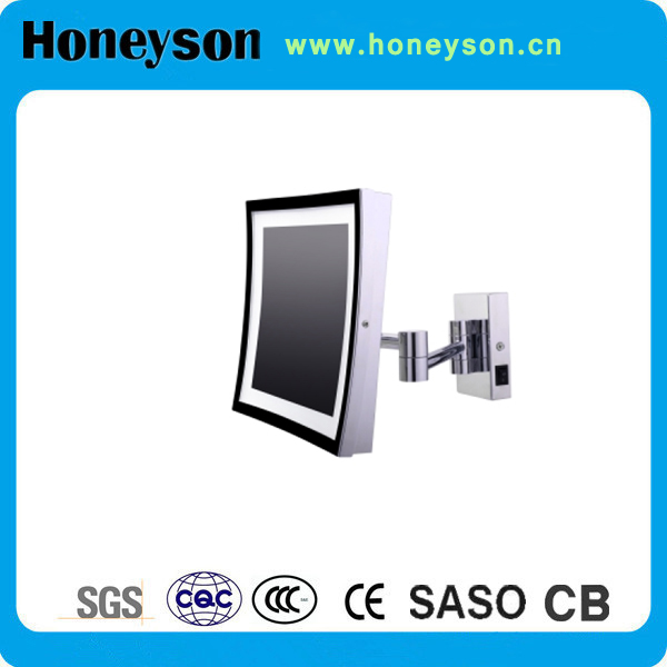 Honeyson profession led round wall mounted swivel mirror bathroom