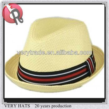 cc264dc5d14ea Mens Summer Fedora Beige Stripe Band Cuban Style Upturn Short Brim Hat-S
