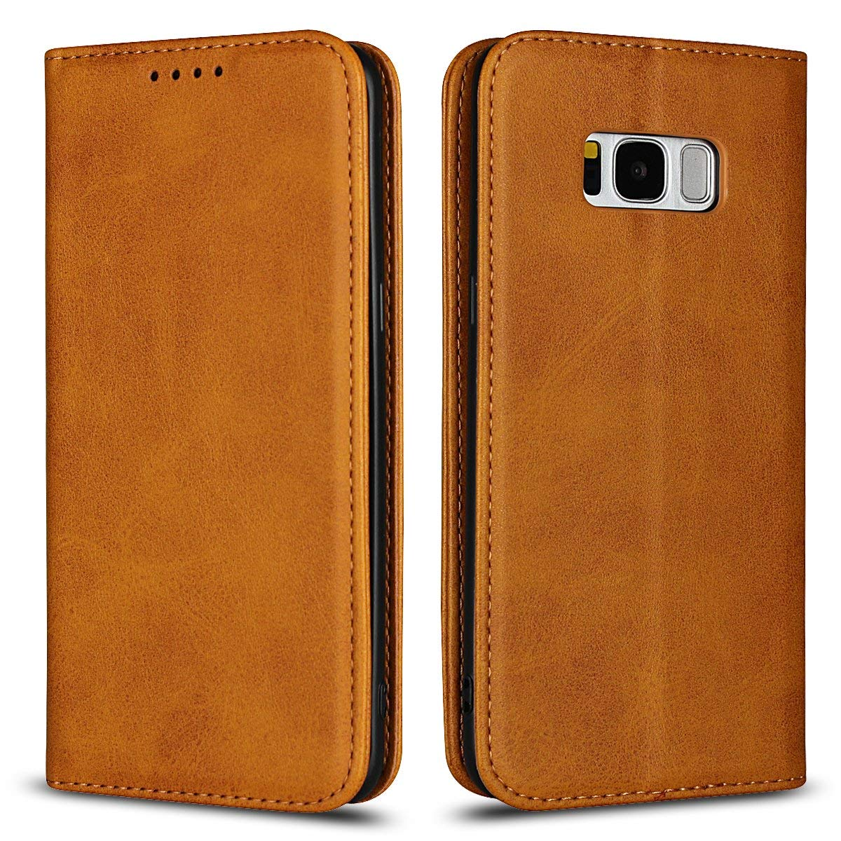 Scheam For Samsung Galaxy S8 Plus Case, [Extra Card Slot] [Wallet Case] PU Leather TPU Casing Protects [Drop Protection] Cover for Samsung Galaxy S8 Plus, Coffee
