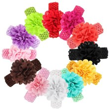 baby hair accessories Chiffon Lace Flower Crochet Headband Baby Girls Dress Up Head band 12 colors Kids flowers headbands