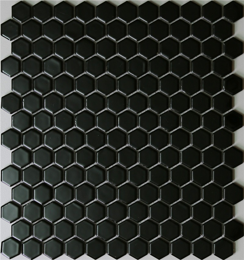 Hexagone noir brillant en c ramique mosa que carrelage for Carrelage hexagonal noir