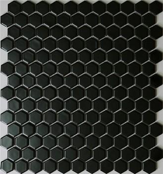 Hexagone Noir Brillant En Céramique Mosaïque Carrelage Mural - Buy ...