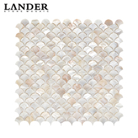 Art 3d iridescent fan shaped colorful fish scale freshwater river shell mosaic tile for kichen backsplash