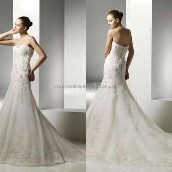 2014 Stylish Ivory Organza Mermaid Wedding Dress With Sweetheart ...