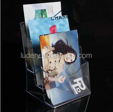 A5 Transparent 3 tier Clear Table Top Acrylic Brochure Display Stands