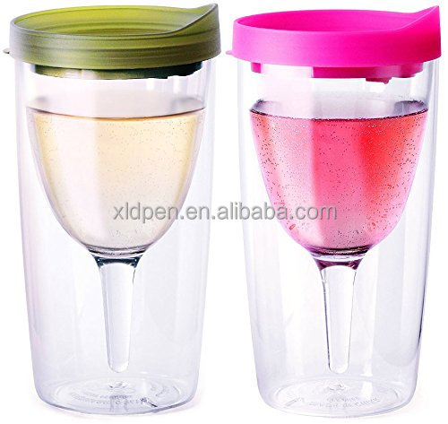 10oz Insulated Vino2go Double Wall Insulated Acrylic Wine Tumbler with Drink Through Lid