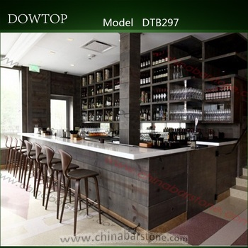 Classic French Style Black Wood Bar Counter