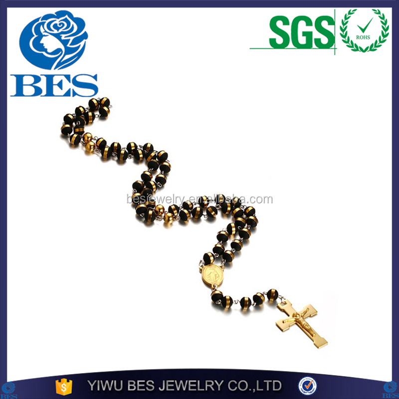 Silicone Beads New Catholic The Blessed Virgin Mary Religious Cross Stainless Steel Rosary Bead Sweater Necklace