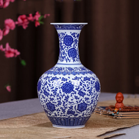 Chinese antique hand painted ceramic blue and white porcelain flower vase