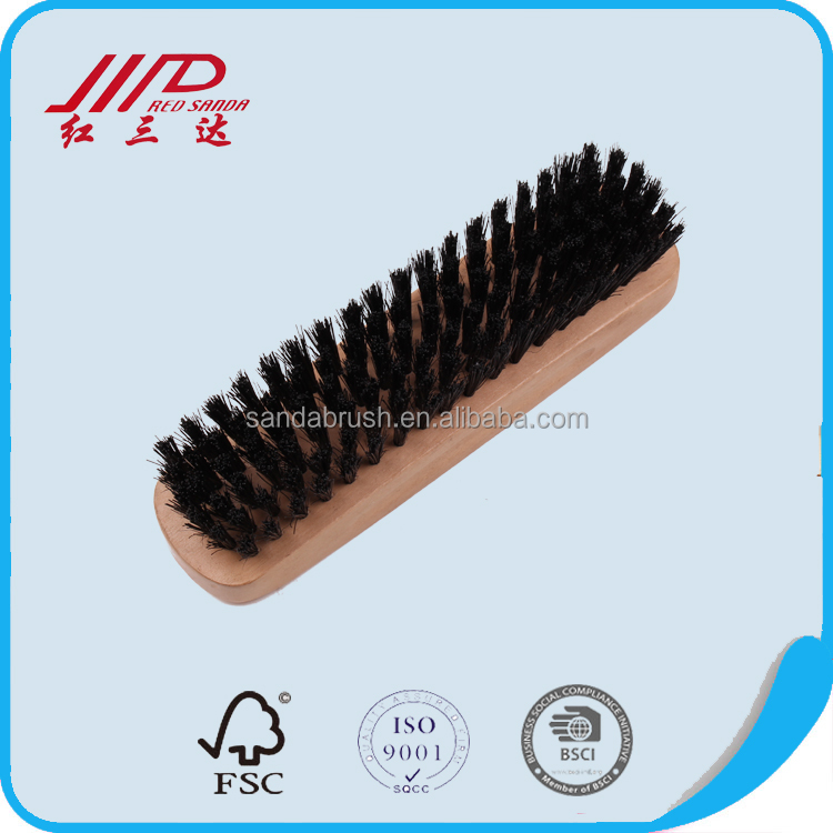 Natural bristle shoe brush with wood handle