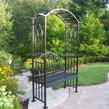 Outdoor Patio Furniture Leisure Garden Metal Arbors With Benches