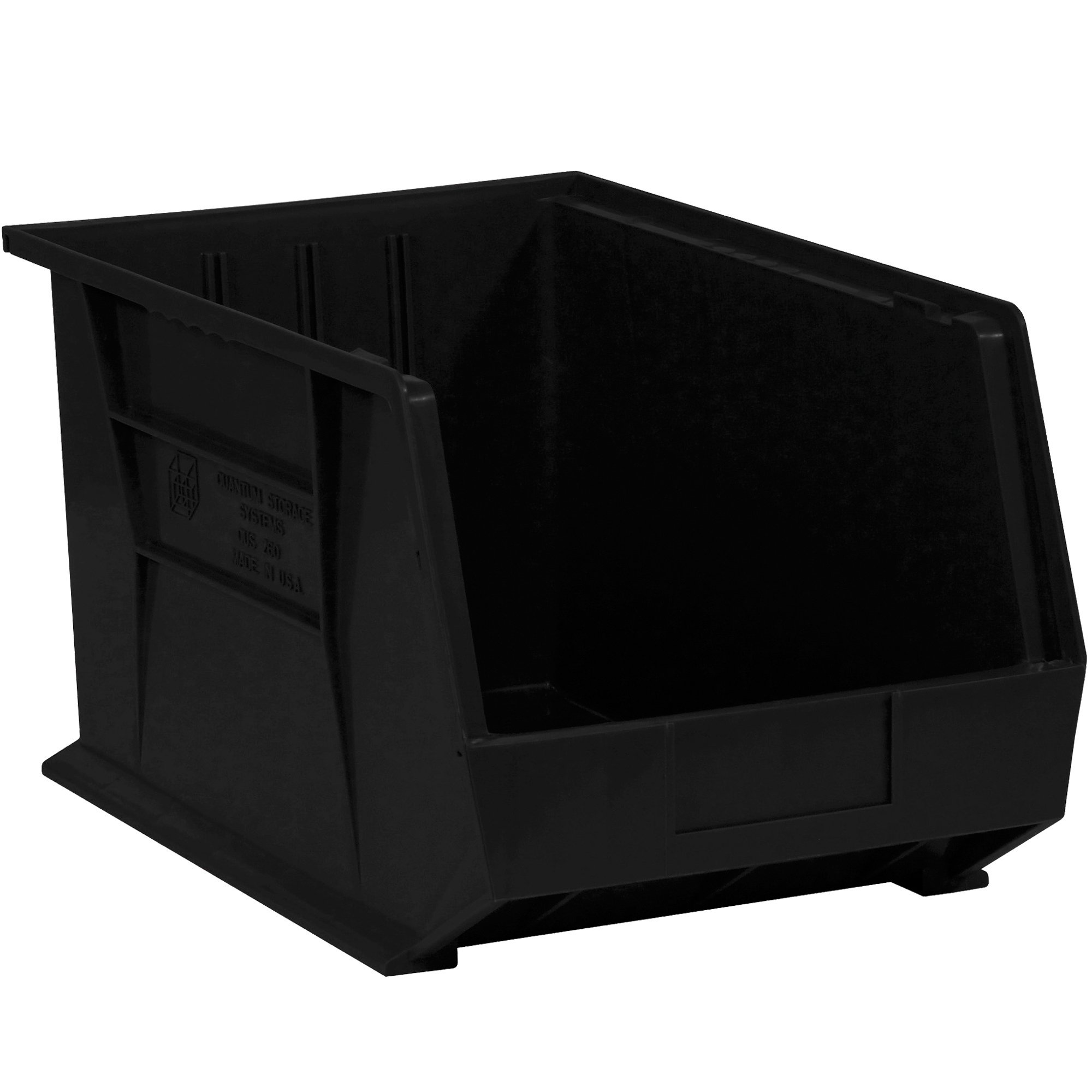 "Aviditi BINP1087K Plastic Stack and Hang Bin Boxes, 10 3/4"" x 8 1/4"" x 7"", Black (Pack of 6)"