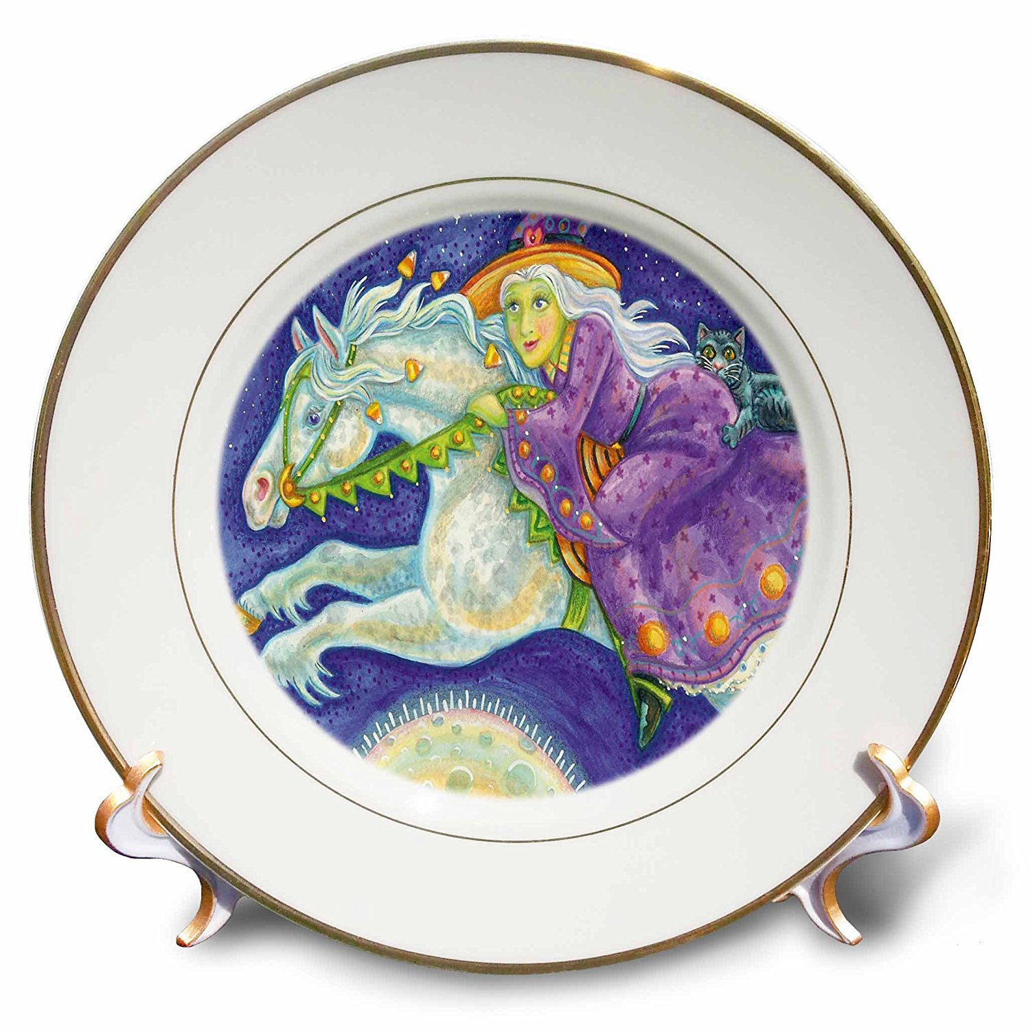 Anne Marie Baugh - Halloween - Cute Halloween Witch Riding Her Halloween Horse Illustration - 8 inch Porcelain Plate (cp_216752_1)