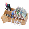 Universal desk docking wooden bamboo cell phone stand holder