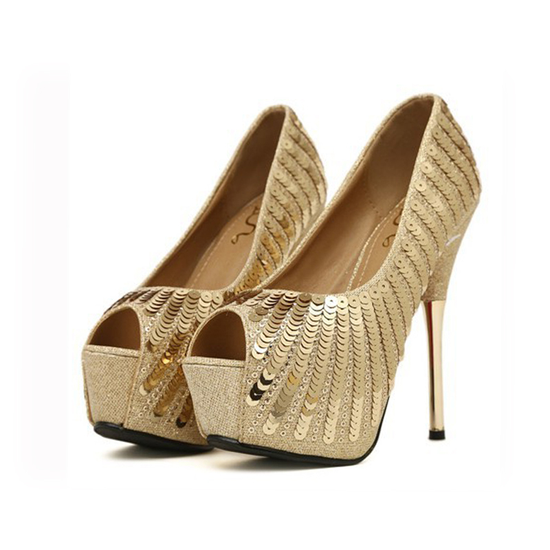 Glitter Wedding shoes Platform High Heel Shoes Peep Toe Sexy Party Shoes Gold/Black Color sapato de noiva