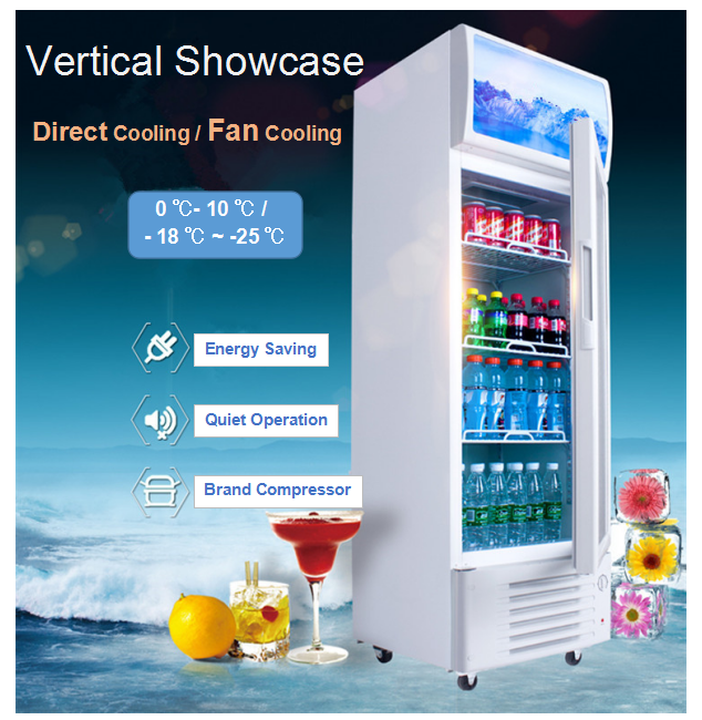 425L Glass Sliding Door Fan Cooling Commercial Cold Drinks Chiller Upright Fridge Cooler Supermarket Showcase Refrigerator