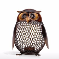 Tooarts Owl Shaped Metal Coin Box Home Furnishing Articles Crafting A029