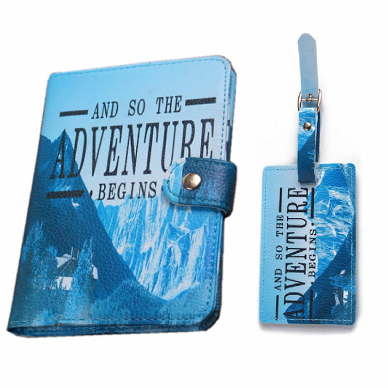 Custom Printing Leather Travel Passport Holder and Luggage Tag Set