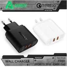 Aukey Charger Plates Wholesale PA-T7 QC 2.0 Dual ports 36W USB Turbo QC 2.0 Wall Charger for Sony HTC EU/US Plug Fast Charger